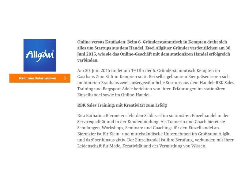 B4B Wirtschaftleben Schwaben Medienbericht – Gründerstammtisch Kempten. RBK Sales Training berichtet von seinen Erfahrungen im stationären Einzelhandel sowie im Online-Handel. – Juni 2015