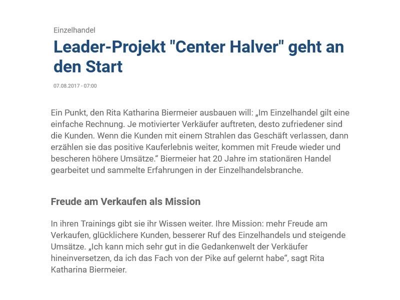 """Medienbericht zum Leader-Projekt """"Center Halver"""" bei dem RKB sales trainings Halveraner Einzelhändler schult – erschienen am 07.08.2017"""
