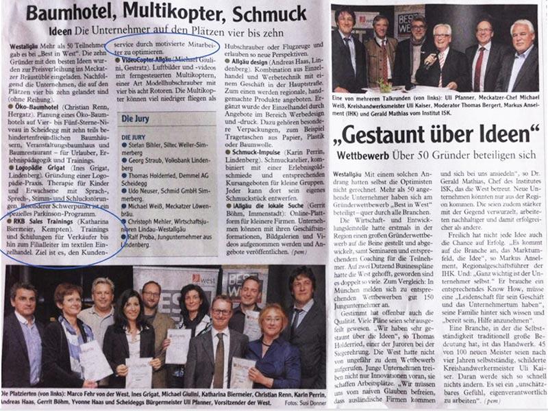 """Presseartikel """"Best in West"""" Oktober 2014"""