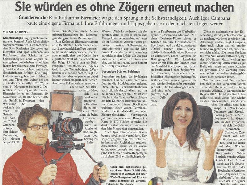 Presseartikel Allgäuer Zeitung – Interview Rita Katharina Biermeier zur Gründerwoche Allgäu – November 2016