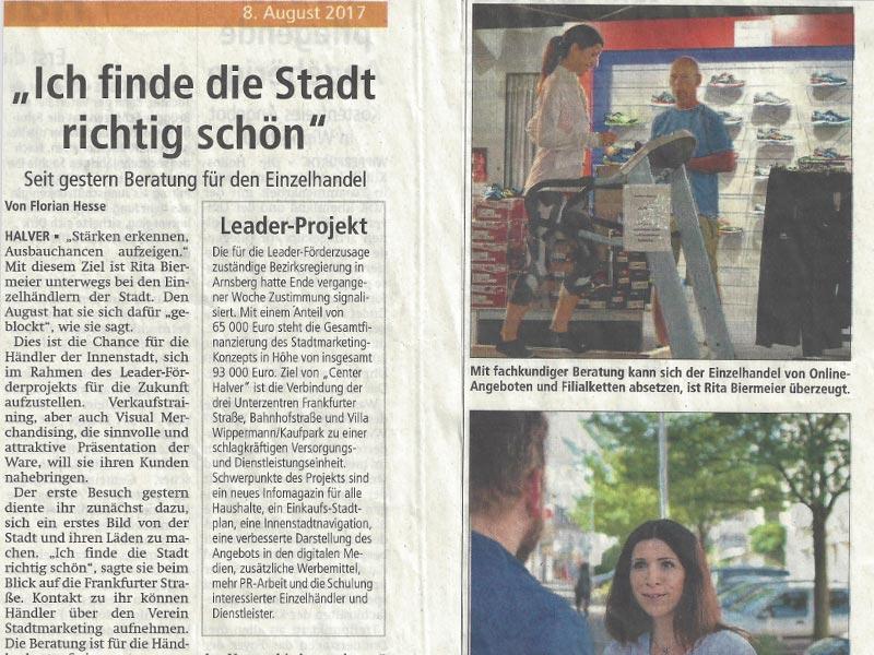 """Presseartikel Projekt """"Center Halver"""" Beratung für den Einzelhandel 08.08.2017"""