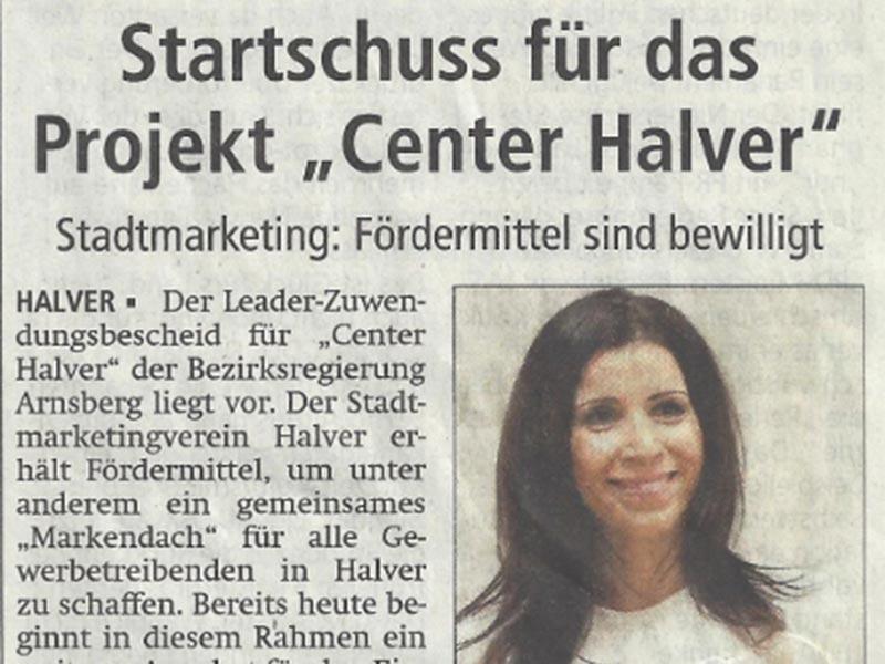 """Presseartikel zum Startschuss für das Projekt """"Center Halver"""" 07.08.2017"""