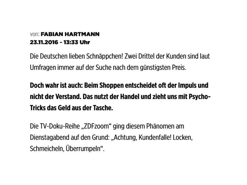 """Presseartikel Bild.de von Fabian Hartmann zur ZDF Doku """"Achtung, Kundenfalle! Locken, Schmeicheln, Überrumpeln"""" mit RKB – 23.11.2016"""