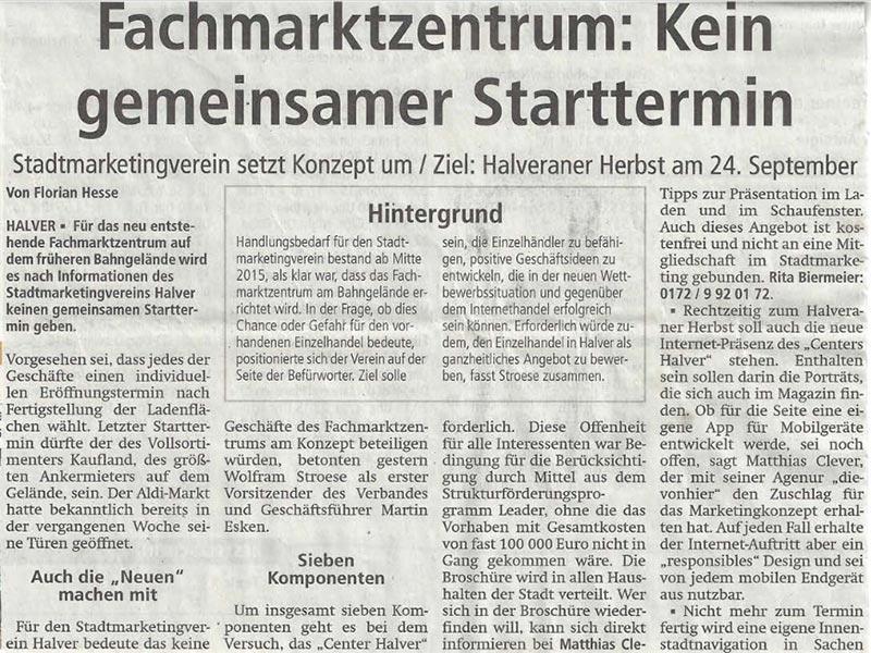 "Presseartikel Projekt ""Center Halver"" Stadtmarketing / RKB Trainings 15.08.2017"